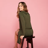 green collared sweater jacket back