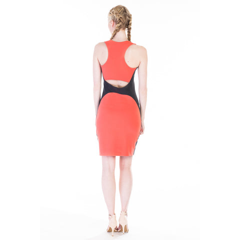 Ada dress coral back