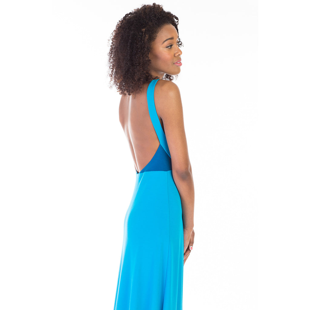 alma dress blue back detail