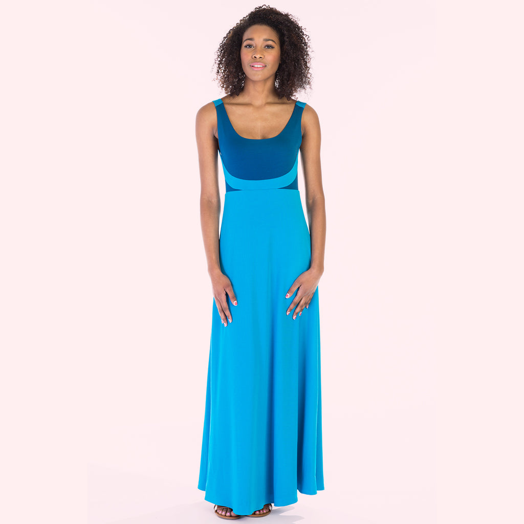 alma dress blue front
