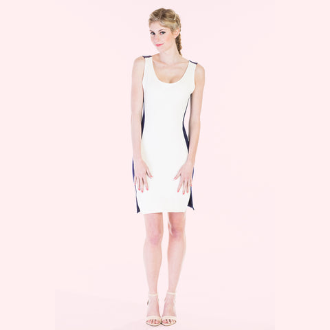 camille dress white and navy front