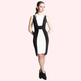 cleo dress black and white front