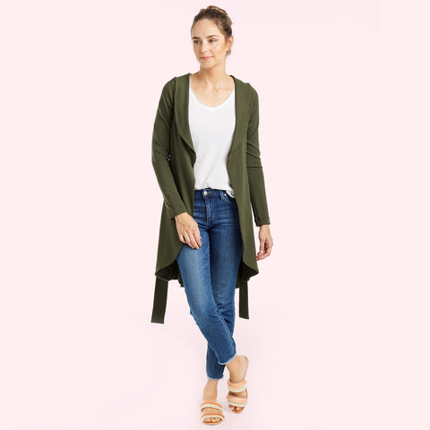 green belted sweater jacket front view