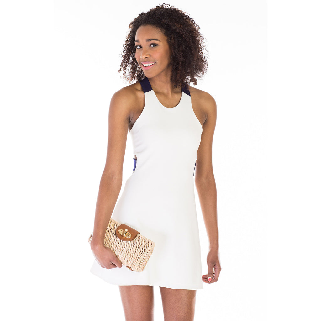 victorine dress white purse