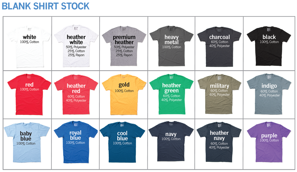 d583f509 These are our stock shirts that we have at all times. However, we can order  just about any brand, color, or blend under the sun, so if there is  something ...