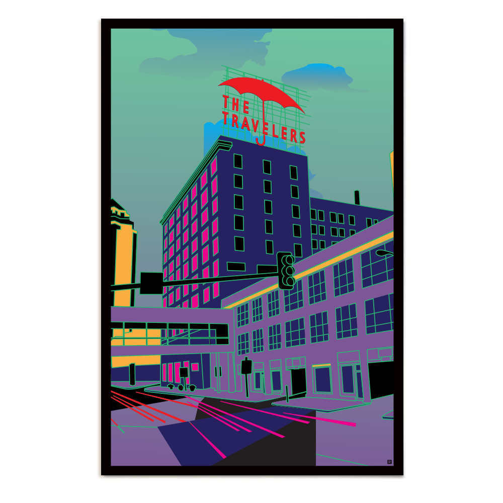 Des Moines Travelers Umbrella Poster