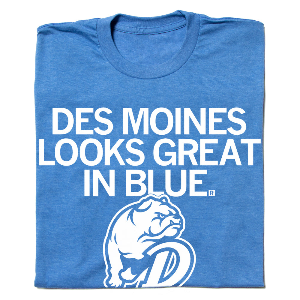Des Moines Looks Great In Blue T-Shirt