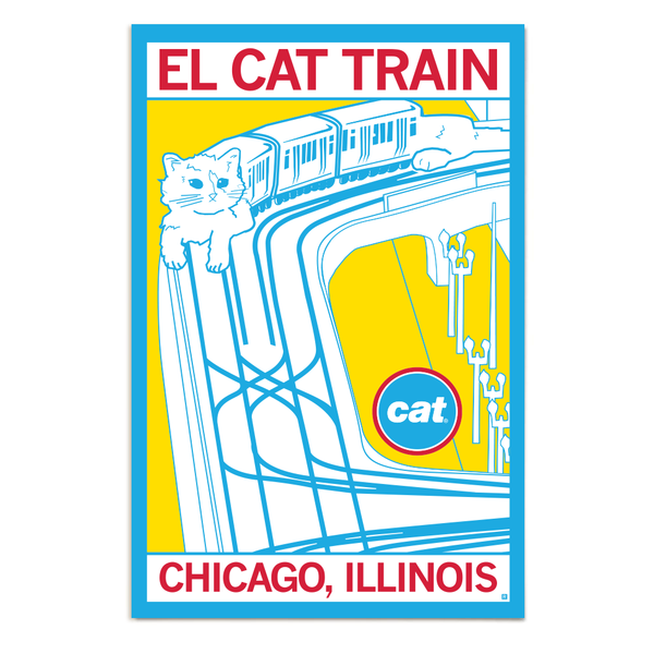 Chicago Cat Train Poster