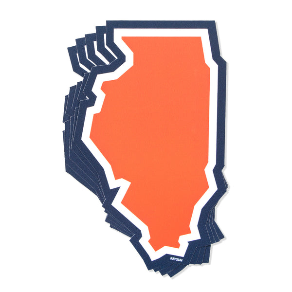 Illinois Orange Blue Outline Sticker Chicago