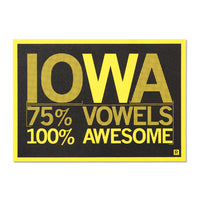 Iowa Vowels Postcard - Black