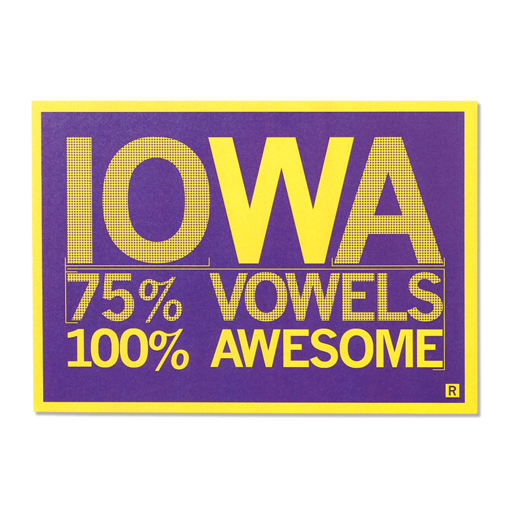 Iowa Vowels Postcard - Purple