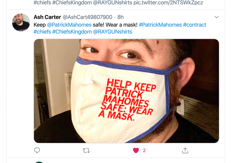 Fabric Face Mask: Keep Patrick Mahomes Safe