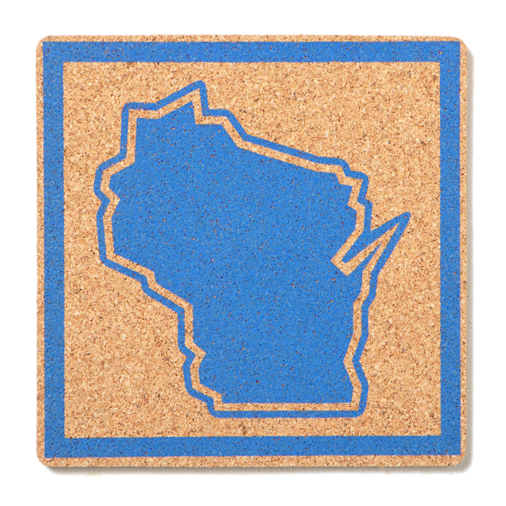 Wisconsin Outline Cork Coaster