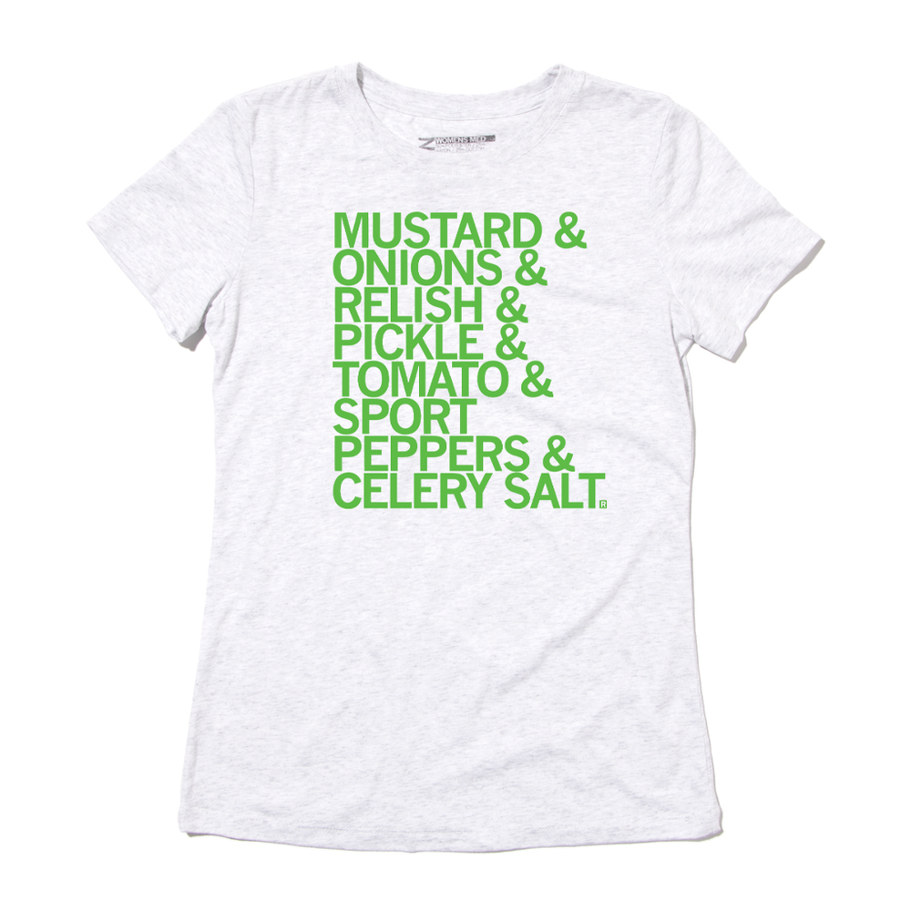 List of Chicago Style Hotdog Ingredients T-Shirt