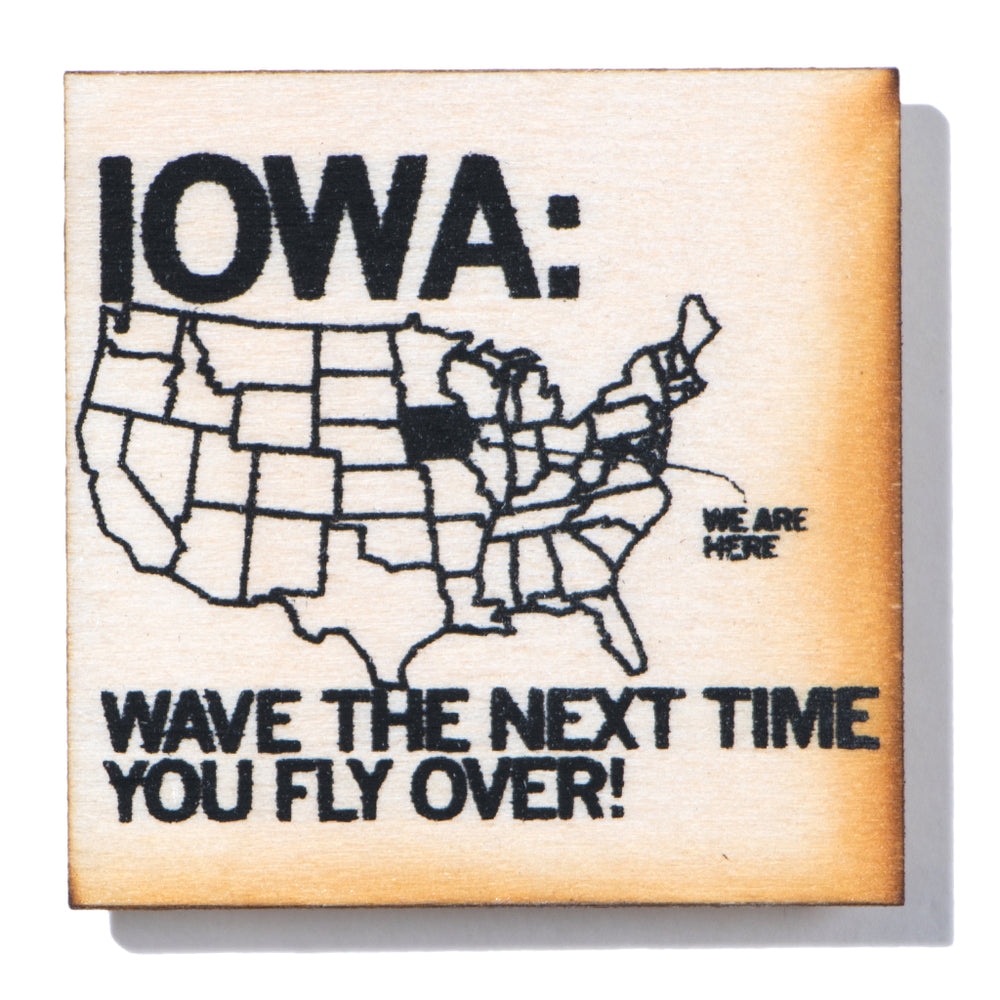 Iowa Fly Over Wood Magnet