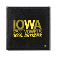 Iowa Vowels Metal Magnet - Black