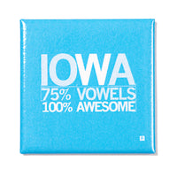 Iowa Vowels Metal Magnet - Blue