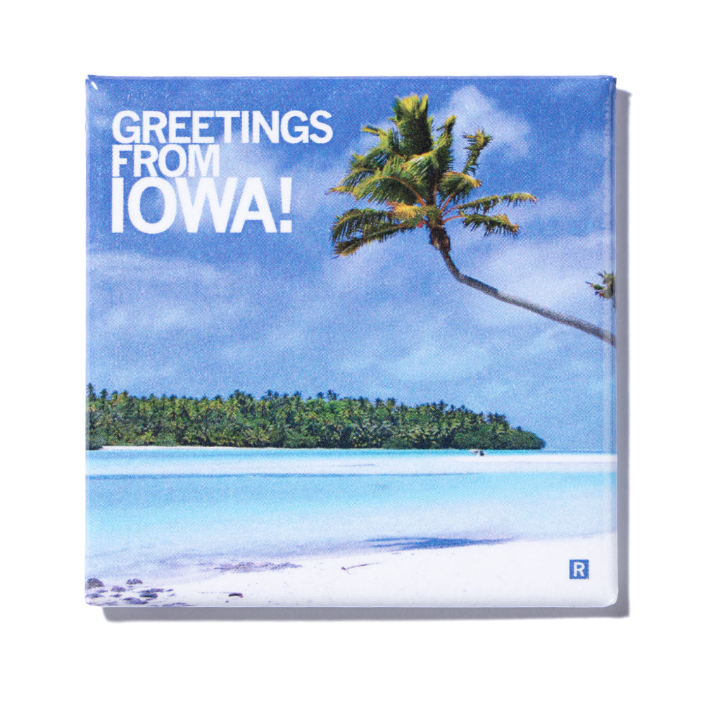 Greetings Iowa Beach Metal Magnet