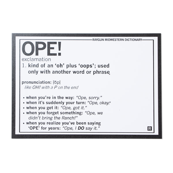 Ope! Exclamation Definition Postcard