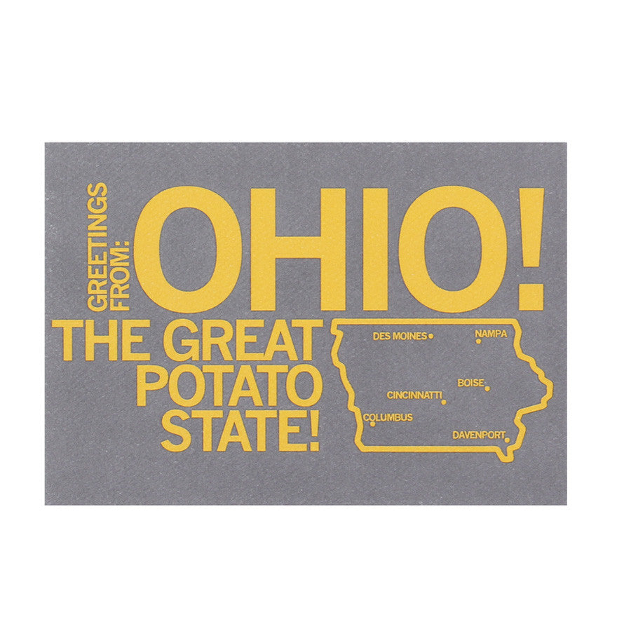Greetings From Ohio The Great Potato State Postcard