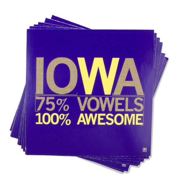Iowa Vowels - Purple & Gold Sticker