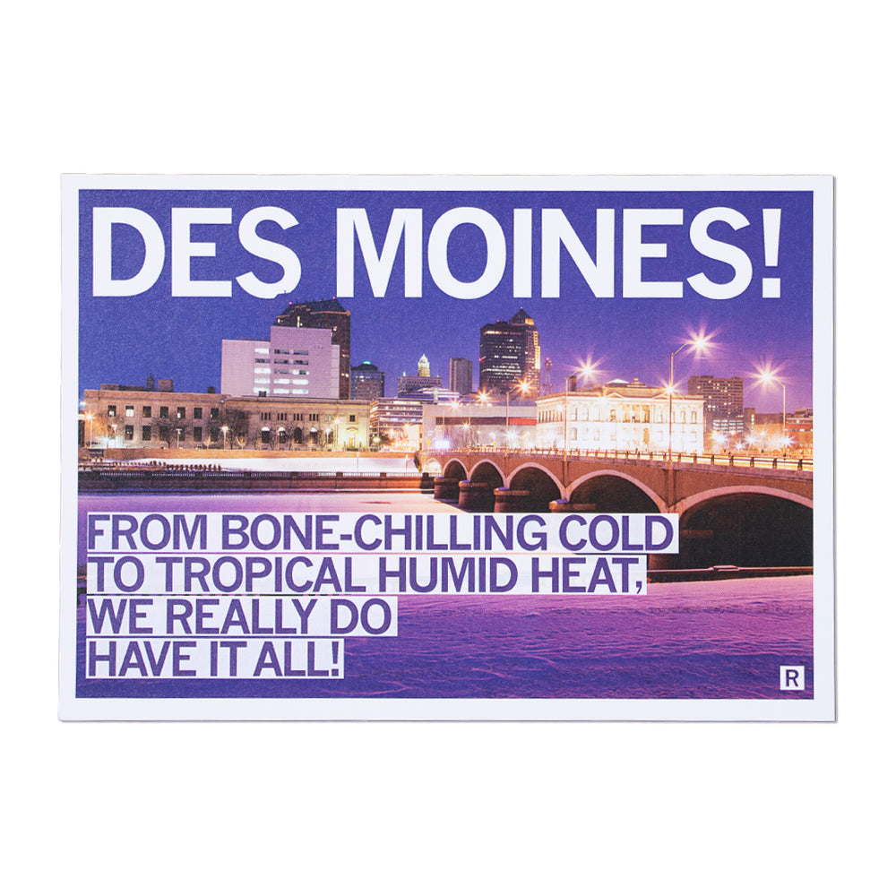 Des Moines Bone-Chilling Cold Tropical Humid Heat Postcard