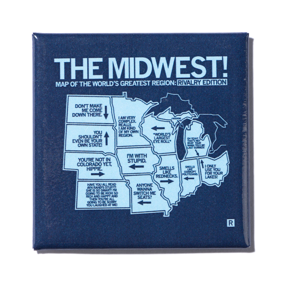 Midwest Rivalry Map Metal Magnet