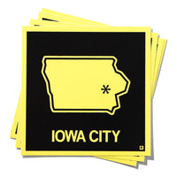 Iowa City Black and Gold State Outline Sticker