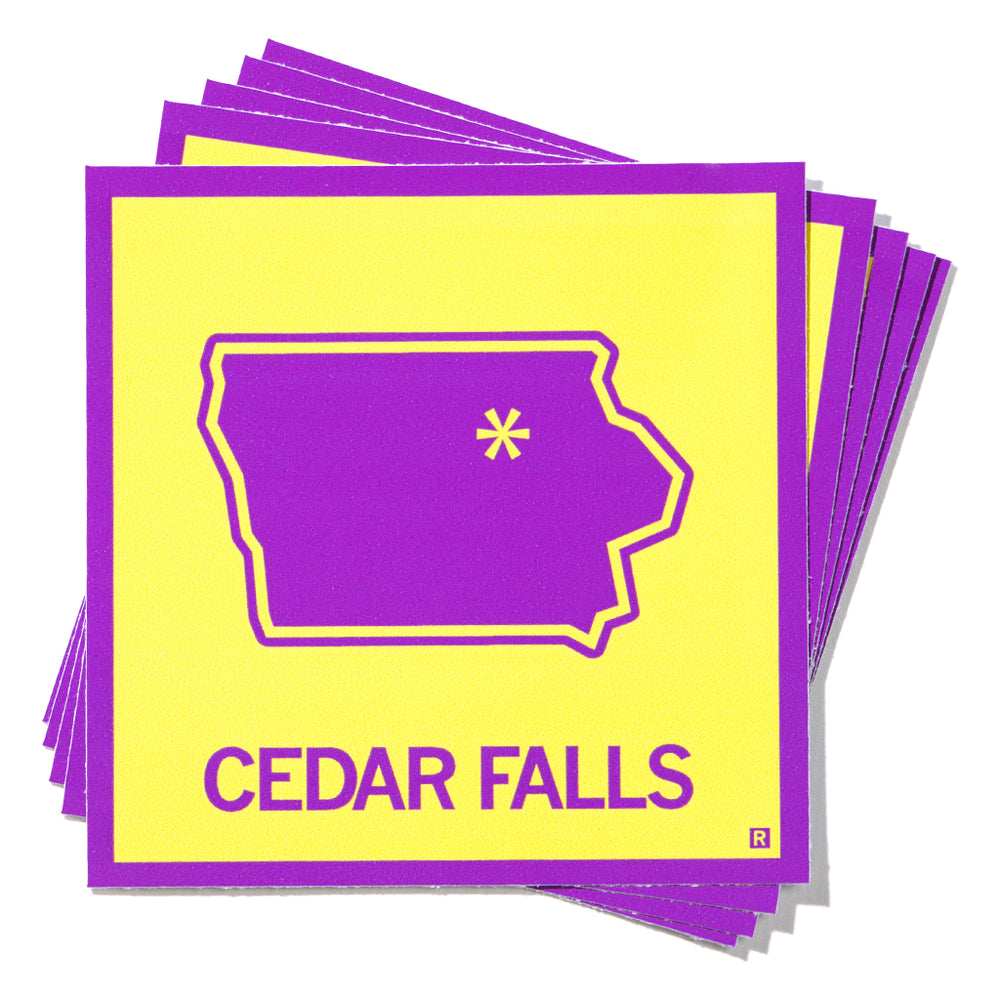 Cedar Falls, Iowa Outline Sticker - Purple & Gold