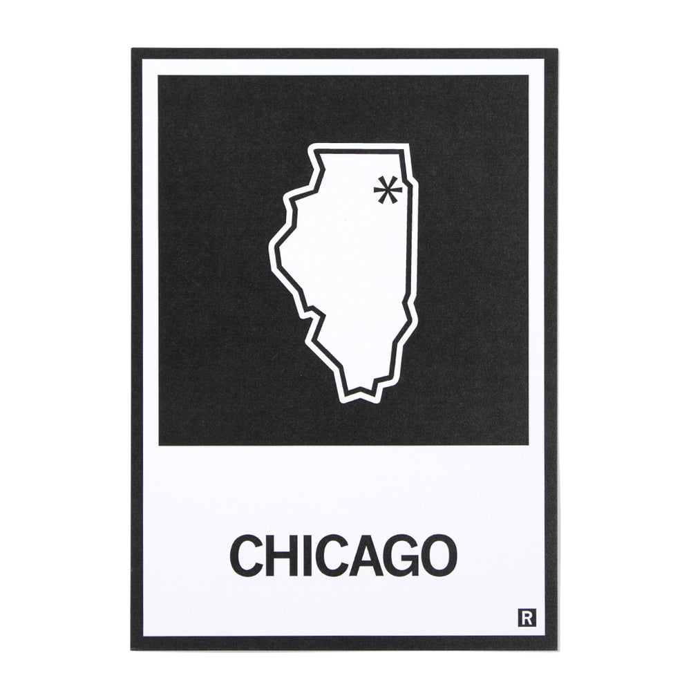 Chicago IL State Outline Postcard