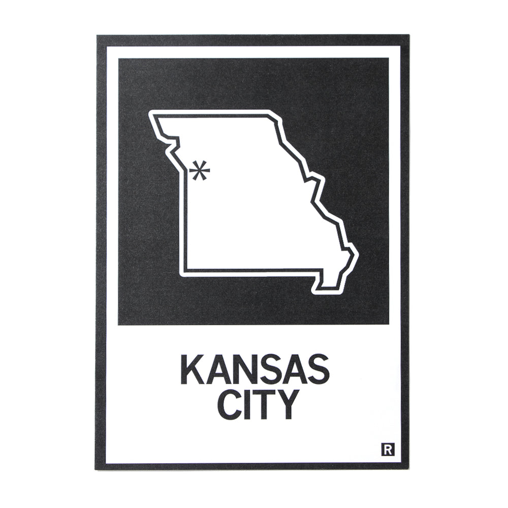 Kansas City MO State Outline Postcard
