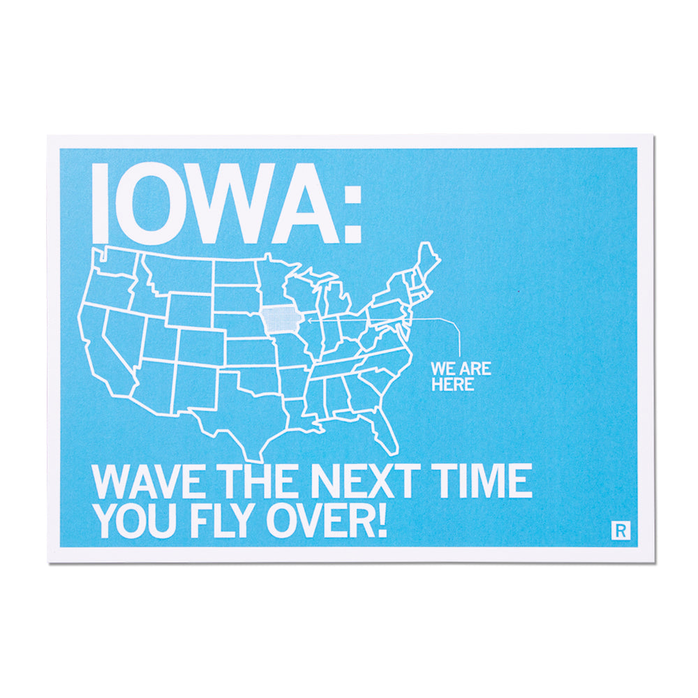 Iowa Wave The Next Time You Fly Over Postcard
