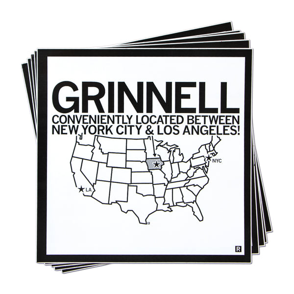 Grinnell Located Between NYC and LA Sticker
