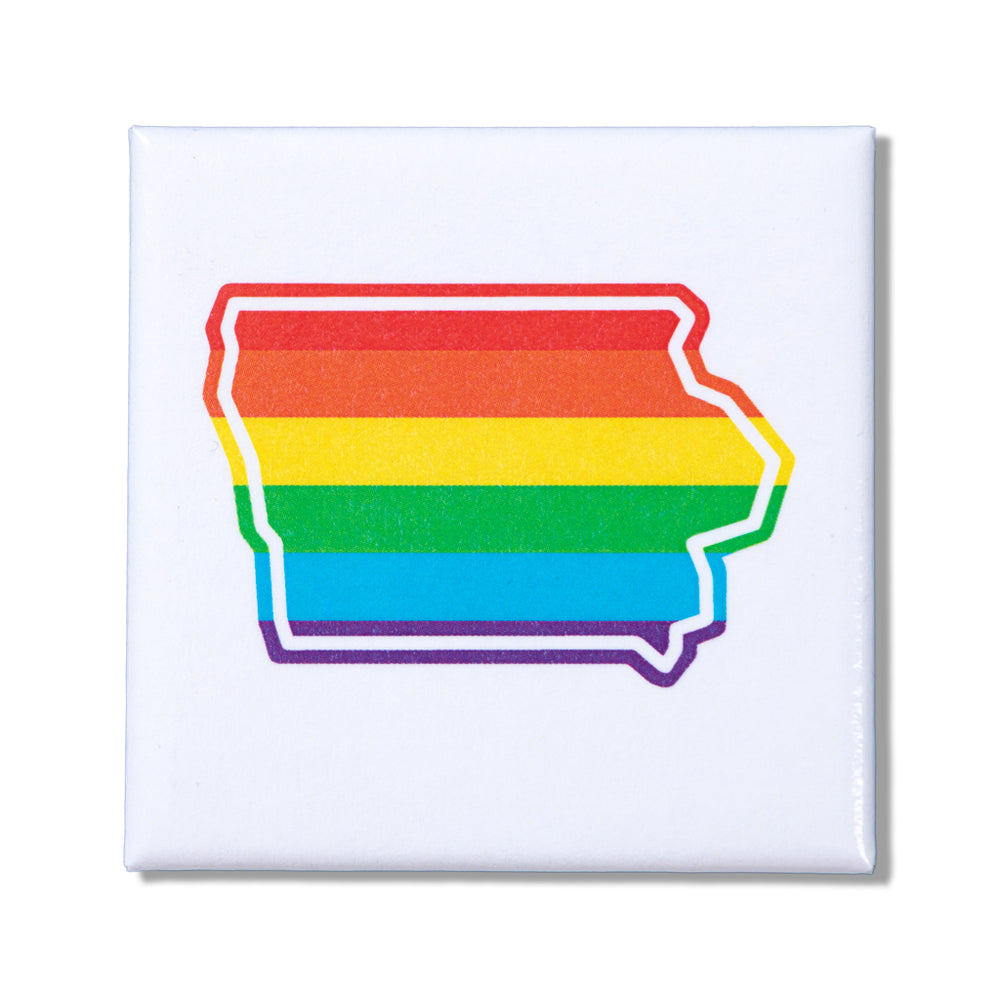 Rainbow Iowa Outline Metal Magnet