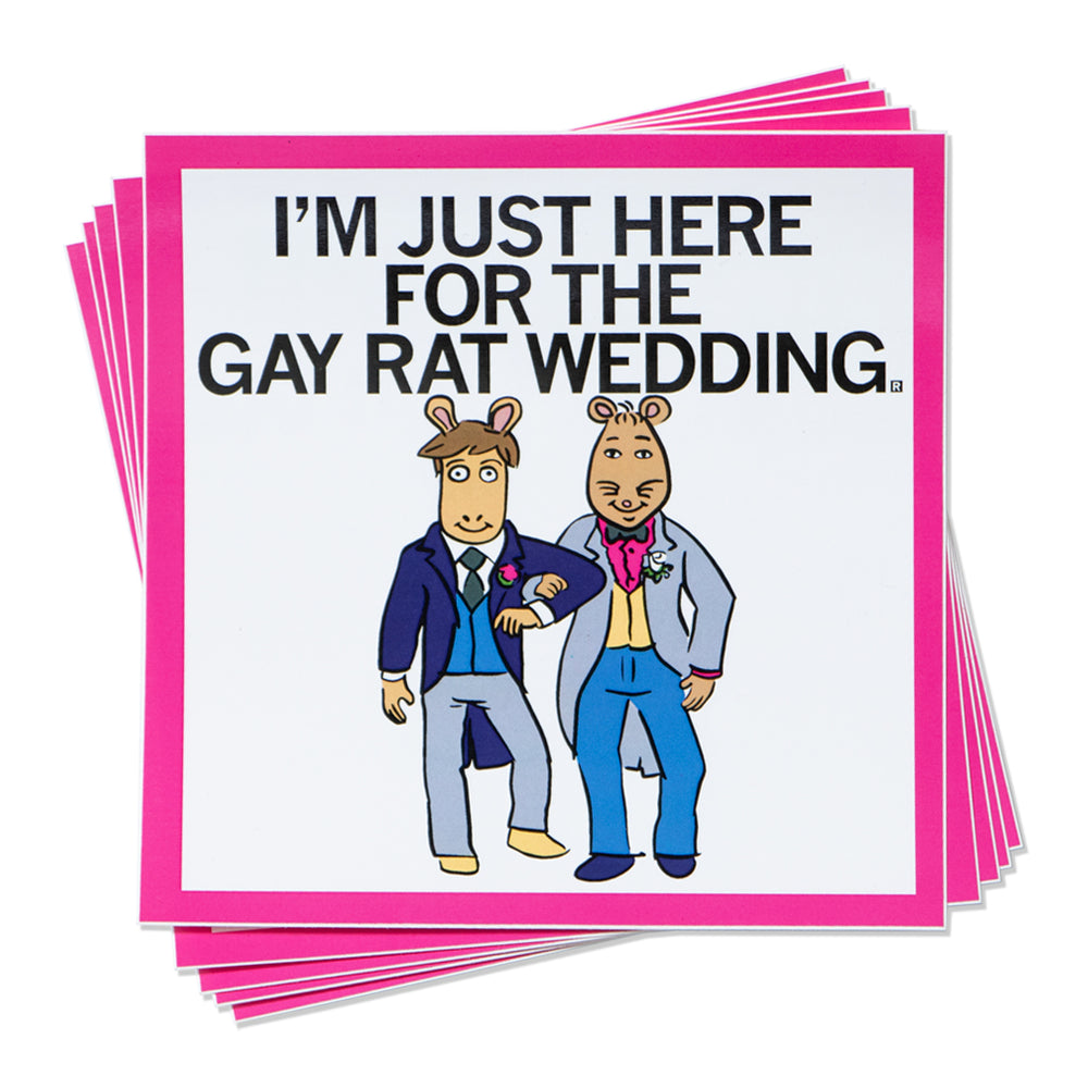 Arthur I'm Just Here For The Gay Rat Wedding Sticker