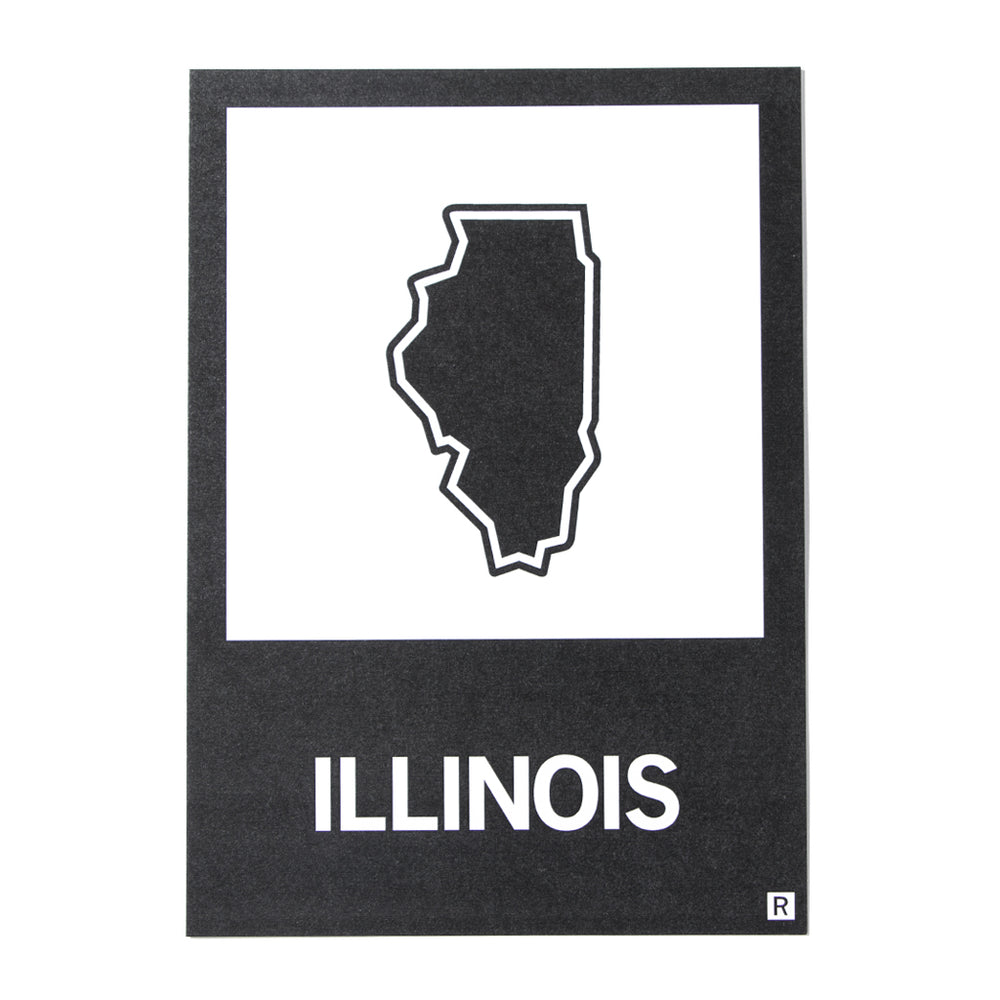 IL State Outline Postcard