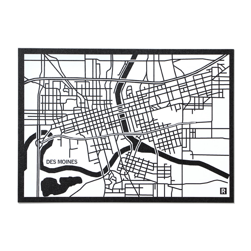 Des Moines Map Postcard White