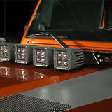Rugged Ridge Hood Light Bar Kit, 3 Cube LED Lights, 07-15 Jeep Wrangler (JK)