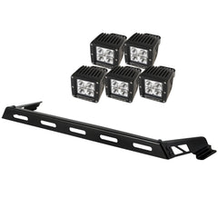 Rugged Ridge Hood Light Bar Kit, 5 Cube LED Lights, 07-15 Jeep Wrangler (JK)