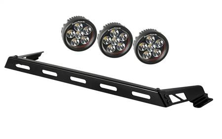 Rugged Ridge Hood Light Bar Kit, 3 Round LED Lights, 07-15 Jeep Wrangler (JK)