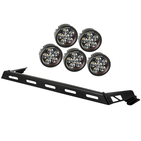 Rugged Ridge Hood Light Bar Kit, 5 Round LED Lights, 07-15 Jeep Wrangler (JK)