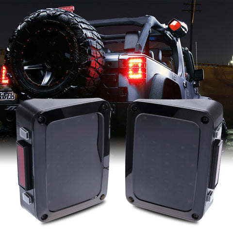 2 pcs Brake Turn Signal LED Rear Tail Light for Jeep Wrangler LED Tail Light with Brake Turning Reverse Light US