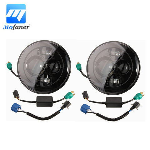 2PCS H4 Motorcycles 7 Inch Round Projector Led Headlight Black Round Head Light Fits For Harley Chopper For Jeep for Wrangler