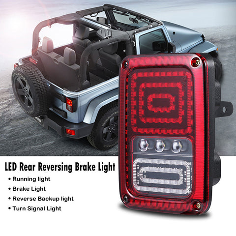 Snake Style Car LED Left Rear Reversing Brake Light Turn Signal Tail Light for 2007 - 2016 Jeep Wrangler JK