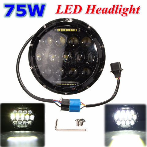 Universal Black 7 Inch DC 12V 24V Round 75W LED Headlight  for Harley-Davidson for Jeep /Wrangler /Land Rover /Hummer
