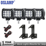 "Oslamp 4pcs 4"" 36W Spot Flood LED Work Light Driving Led Work Lamp 12v 24v+Mounting Brackets for Jeep Wrangler 2DR/4DR 2007-2015"