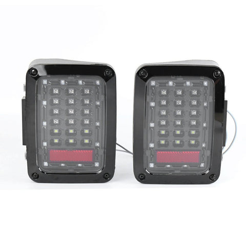 2pcs LED Tail Lamp Smoked Taillight Reversing Lamps Turning Signal for Jeep for Wrangler First Generation Car Driving