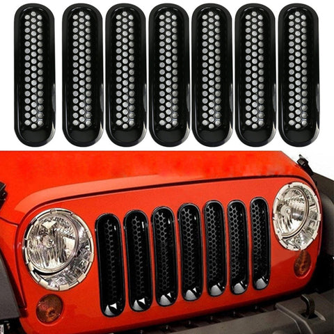 7Pcs/set Front Grille Cover Decoration Trim Sport Strips Cover Black Front Grille Cover Insert Mesh for 07-16 Jeep JK Wrangler