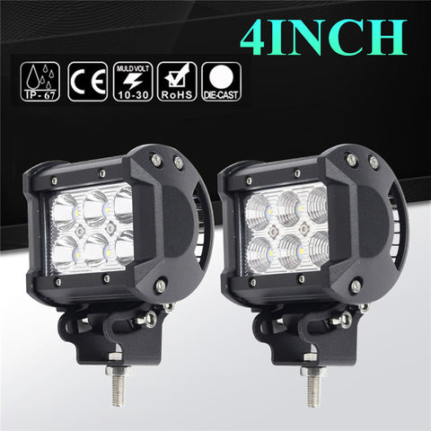 2pcs IP67 4inch 18W LED Work Light Driving SpotLight Flood Lamp For SUV ATV UTE For JEEP Truck DC10-30V 6000K