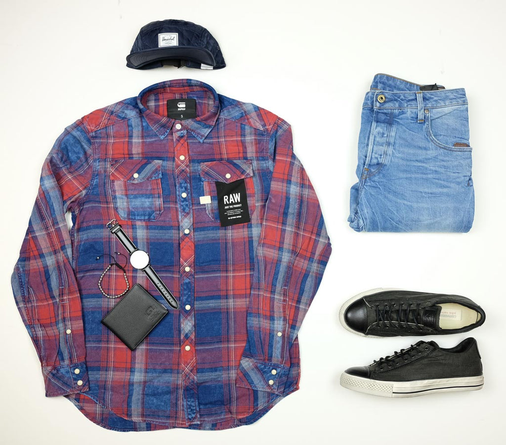 Mens style outfit featuring G-Star Herschel Supply Daniel Wellington John Varvatos and Converse